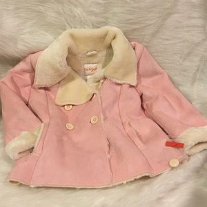 Pink polyester suede jacket